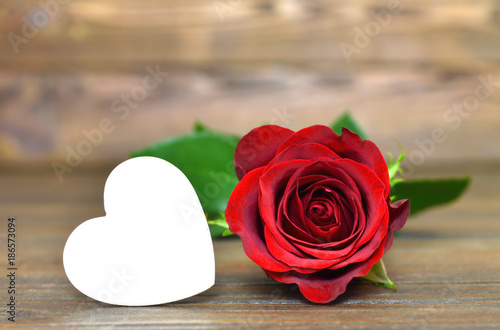 Valentines Day card with red rose and heart