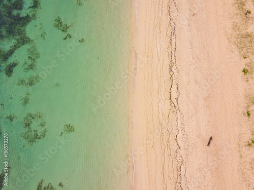 In de dag Olijf Aerial view of Nusa Dua beach from drone, Bali island, Indonesia