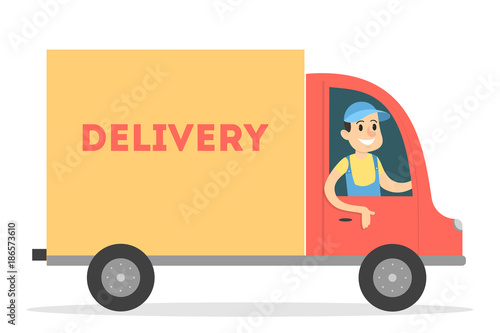 Fototapeta Isolated delivery truck.