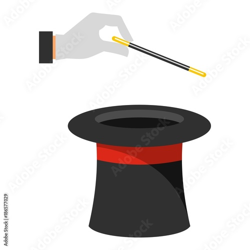 Hat with hand icon. Cartoon illustration of hat with hand vector icon for web. - 186577029