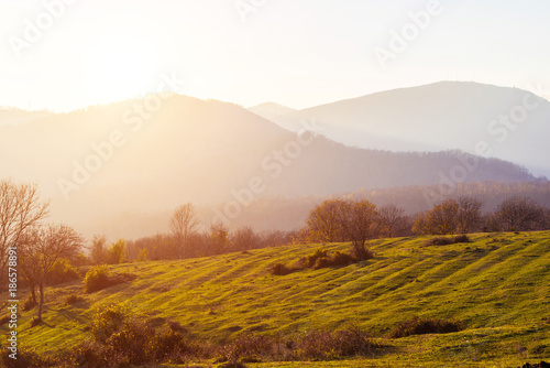 Foto op Canvas Wit Mountain landscape on a sunny day