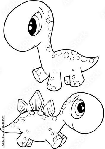 Fotobehang Cartoon draw Cute Dinosaurs Vector Illustration Art