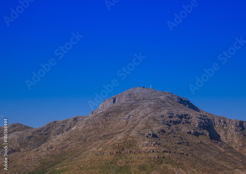 Keuken foto achterwand Donkerblauw Landscape of Cape Town with seldom view of the Table Mountain without clouds in South Africa