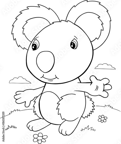 Fotobehang Cartoon draw Cute Koala Bear Vector Illustration Art