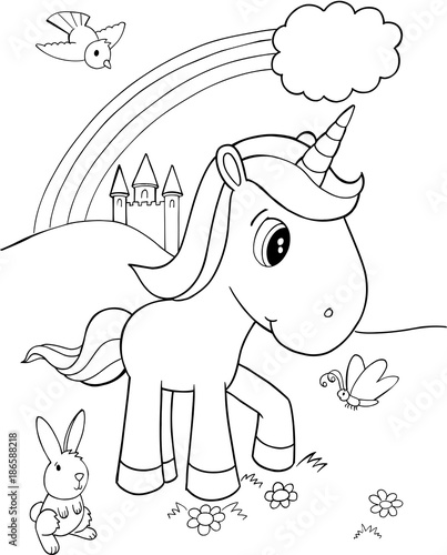 Foto op Canvas Cartoon draw Cute Unicorn Vector Illustration Art