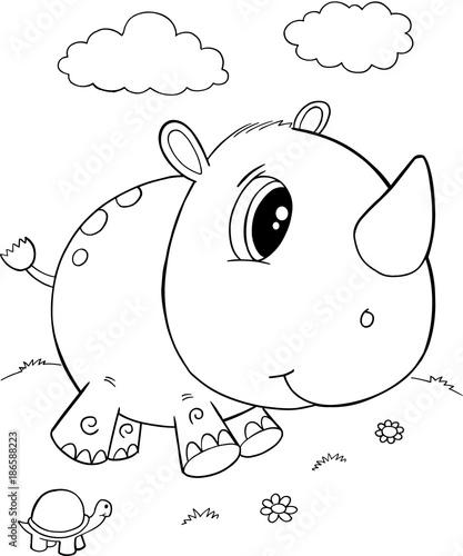 Fotobehang Cartoon draw Cute Rhino Vector Illustration Art