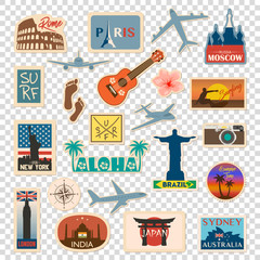 Vector travel sticker and label set with famous countries, cities, monuments, flags and symbols in retro or vintage style. Includes Italy, France, Russia, USA, England, India, Japan etc