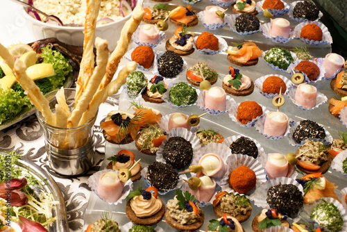 Exquisite snacks arranged on the table.
