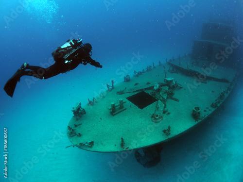 Fotobehang Schipbreuk Scuba Diving Malta Gozo Comino - - P31 Wreck, Comino