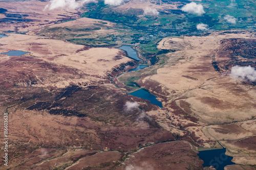 Fotobehang Zalm Luftbild von mittel England berg landschaft