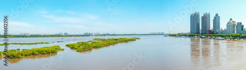 Fototapeta Sun Island west beach wetland park, located in Harbin, Heilongjiang, China.