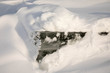 Snow covered lifted ice chunk on Lake of the Woods in Minnesota