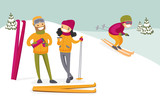 Caucasian white couple of skiers drinking hot coffee from thermos at ski resort. Young woman and man having break after skiing in the mountains. Family vacation concept. Vector cartoon illustration. - 186621660
