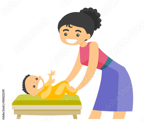 Young caucasian white mother taking care of smiling newborn baby lying on changing table. Happy mother changing clothing to her infant. Vector cartoon illustration isolated on white background.