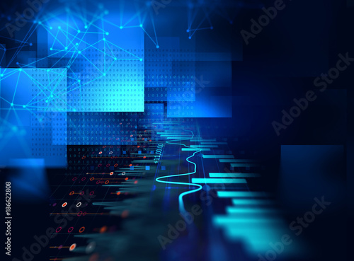 Sticker technical financial graph on technology abstract background