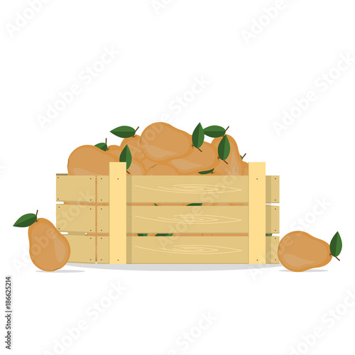 Pears in a wooden box - 186625214