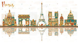 Paris France City Skyline with Color Landmarks. - 186636806