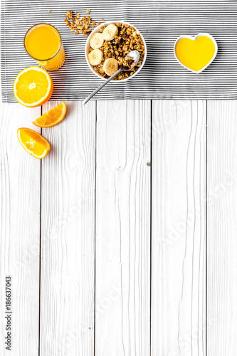 Healthy breakfast. Porridge with fruits and fresh juice. White wooden background top view copyspace - 186637043