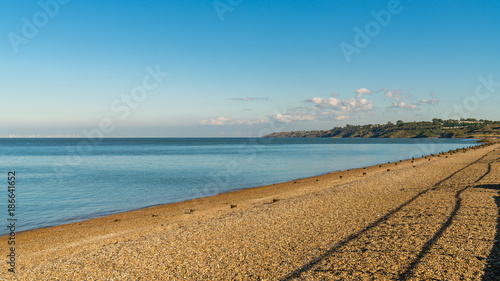 Fotobehang Noordzee Beach and North Sea, seen from The Leas in Minster on Sea, Isle of Sheppey, Kent, England, UK