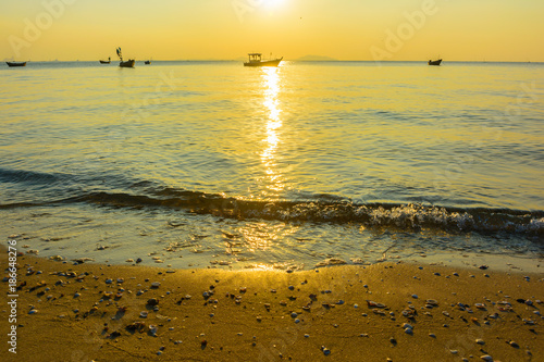 Fotobehang Oranje Beach and sunset background. Landscape beach background in Thailand