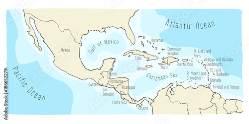 Panama Mexico Map.Hand Drawn Vector Map Of Central America And Mexico Colorful