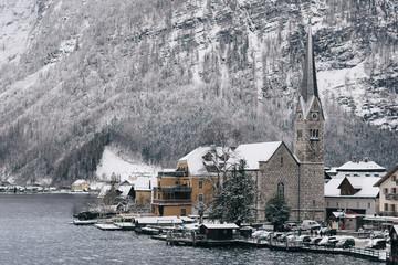 Winter view of Hallstatt old town. Travel destinations concept.