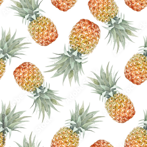 Watercolor tropical pineapple pattern - 186663282