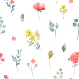 Watercolor vector floral pattern - 186666073