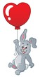 Rabbit with heart shaped balloon theme 1