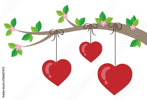 Fotobehang Voor kinderen Branch with stylized hearts theme 1