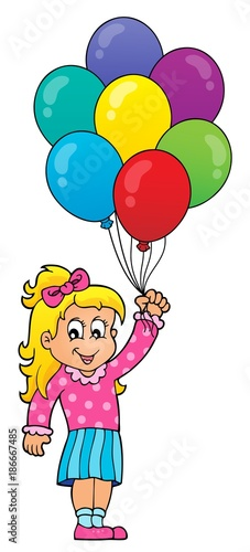 Fotobehang Voor kinderen Girl with party balloons theme 1