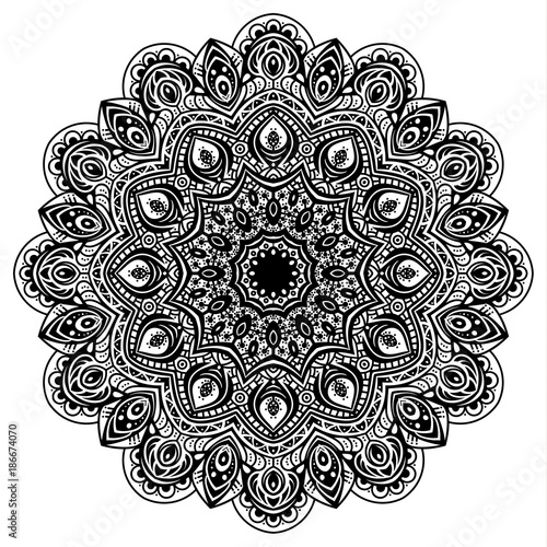 Black and white mandala vector isolated on white. Vector hand drawn circular decorative element. - 186674070