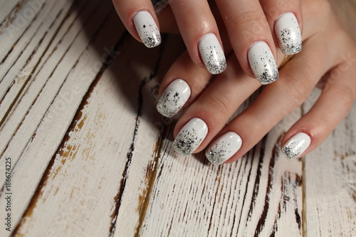 Foto op Canvas Manicure beautiful white manicure