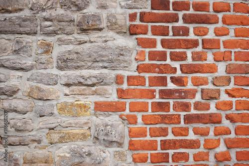 In de dag Baksteen muur Ziegelwand Textur Hintergrund