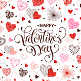 Happy Valentine Day greeting card. Romantic hearts pattern with calligraphic phrase on white background. Template for 14 february and wedding invitations design.