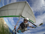 Hang glider pilot chot with action camera - 186684001
