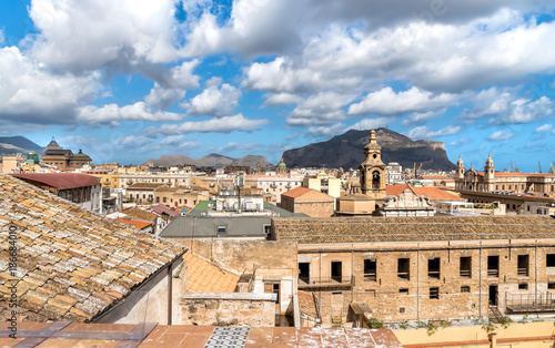 Fotobehang Palermo Top view of Palermo cityscape, Sicily, Italy