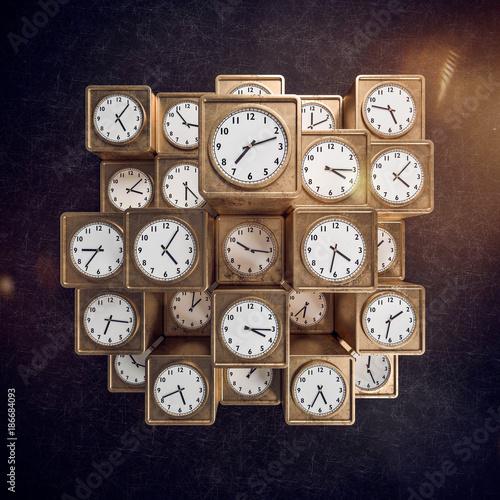 Deurstickers Hoogte schaal Zeitmanagement abstrakte goldene Würfel