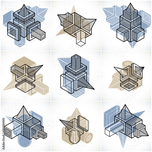 Abstract construction isometric designs collection, vector set. - 186684445