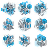3d abstract vector isometric backgrounds. Layouts of cubes, hexagons, squares, rectangles and different abstract elements. Vector collection.