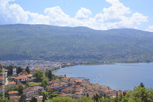 Staande foto Amusementspark Beautiful view of the coast of Lake Ohrid in Macedonia