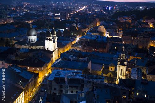 Evening cityscape of Lviv, Ukraine - 186696423