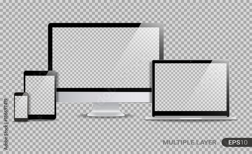 Realistic Computer, Laptop, Tablet and Smartphone with Blank Wallpaper Screen Isolated on Transparent Background. Set of Device Mockup Separate Groups and Layers. Easily Editable Vector.
