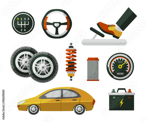 Aluminium Auto Car, auto, automobile and set of parts wheel, tires, pedal, speedometer, battery, air filter and shock absorber, flat cartoon vector illustration isolated on white background. Set of auto parts