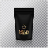Blank Black Foil Coffee Doy Pack Pouch Sachet Bag Packaging with Zipper. Vector Isolated Mock up temlate