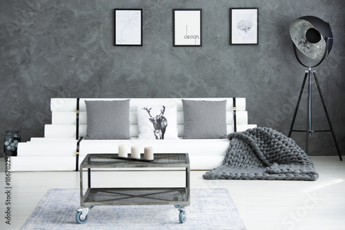 Grey modern living room - 186702257