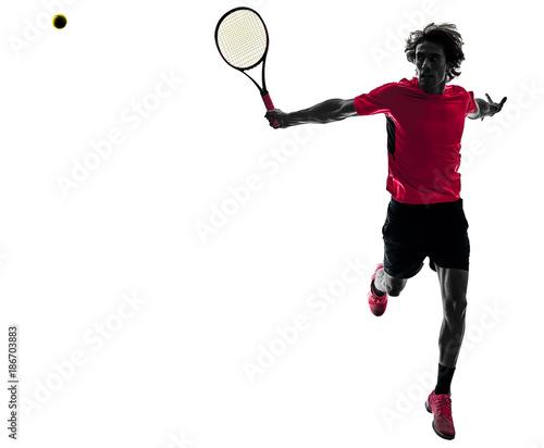 Aluminium Tennis one caucasian hispanic tennis player man in studio silhouette isolated on white background