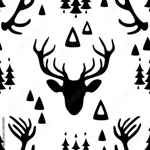 Fotobehang Hipster Hert Seamless pattern with Deer heads