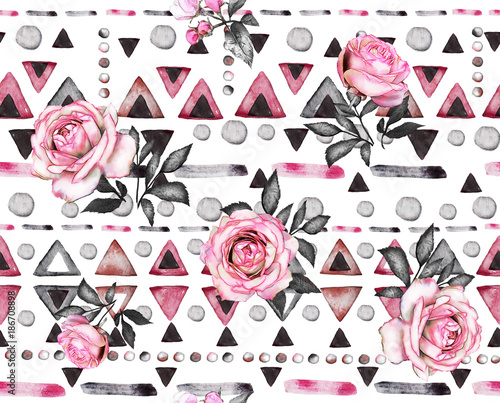 seamless pattern with watercolor flowers and textured ornaments. Abstract floral background. Tile with triangle and Geometric illustration. - 186708898
