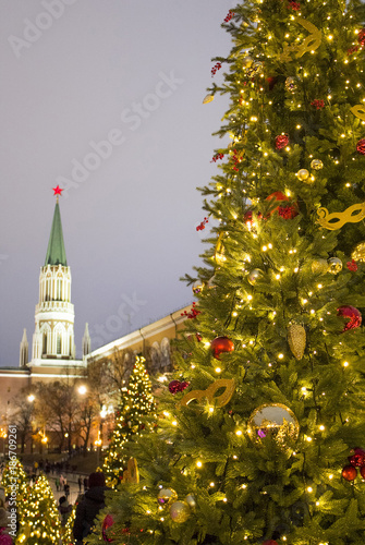 Foto op Aluminium Moskou Christmas trees near the Kremlin on red square in Moscow